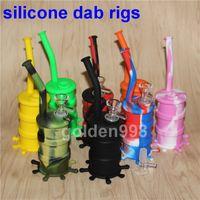 En gros Mini Rigs En Silicone Dab Jar Bongs Pipe Pipe À Eau Silicon Oil Drum Rigs Pipe À Eau en Silicone Bubbler Bong