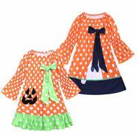 여자 아기 공주 드레스 호박 오렌지 봄 가을 의상 아이 파티 선발 대회 소녀 휴일 할로윈 드레스