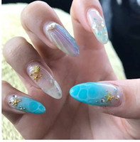 240Pcs Mermaid Seashell False Nail Tips Naturale Chiaro per Gel UV Display Polacco Pratica Nail Art Pre-progettato Suggerimento finto
