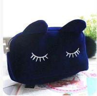 Gorące Makijaż Torby Kosmetyczne Przypadki Przenośny Cartoon Cat Monety Montaż Case Travel Makeup Flanel Etui Kosmetyczna Torba Darmowa Wysyłka
