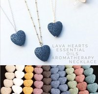 Heart Lava-rock Bead Long volcano Necklace Aromatherapy Essential Oil Diffuser Necklaces Black Lava Pendant Jewelry free ship