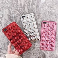 3D Love Heart Plating Cases For iPhone 6 7 6S Plus Cover Met...