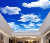 Kundenspezifische Dekoration Wandbild 3d Deckenbild 3d tapete blau himmel und weiße wolken wohnzimmer schlafzimmer 3d tapete decke japanische wallpape