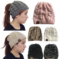 Women CC Beanies 7 Colors High Bun Ponytail Winter Woolen Ya...