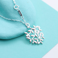 American Sterling Silver Branch pendant Necklace women luxur...