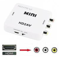 Mini Composito HDMI2AV 1080P Adattatore video HD da mini HDMI a AV Converter CVBS + L / R da HDMI a RCA per Xbox 360 PS3 PC360 Con confezione per la vendita al dettaglio
