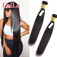 Malezyalı İnsan Saç İpli at kuyruğu Düz Saç 2bundles 3bundles 95-100g / adet Düz Virgin Saç Uzantıları Doğal Siyah