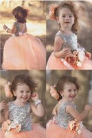 Lovely Sequined Top and Tulle Skirt Ball Gown Flower Girl Dr...