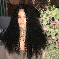 Фабрика необработанные мягкие чистые девственницы человеческие волосы натуральный цвет kinky вьющиеся длинные полные кружева верхний парик для продажи