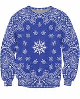 الأزرق باندانا crewneck البلوز الهيب هوب الشارع الشهير النساء أزياء ملابس الرجال البلوز مثير هودي المتناثرة هوديس