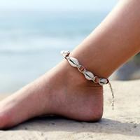 خمر diy حبل الخشب حبة الكاحل سوار قذيفة الطبيعية البوهيمي خلخال المرأة مجوهرات القدم الصيف شاطئ عطلة الملحقات