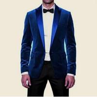 2018 Trajes para hombre de terciopelo nuevo de la manera azul real para la boda por encargo baratos Dos Piezas padrinos de desgaste del juego de baile
