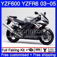 Lichaam voor YAMAHA YZF-600 YZF-R6 03 YZF R6 2003 2004 2005 Carrosserie 228HM.50 YZF 600 R 6 YZF600 Silver Black Hot YZFR6 03 04 05 FUNDINGS KIT