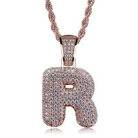 26 Letters Pendant Necklace Rose Gold Plated Micro Pave Zirc...