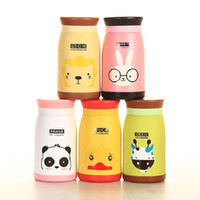 9oz 12oz 17oz Botellas de agua para niños aislados en acero inoxidable Cute Cartoon Animal Vacuum Water Bottles