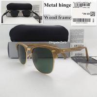 G15 유리 렌즈 남자 여자 선글라스 UV400 판자 나무 프레임 Hinge 원형 51MM Unisex 빈티지 나무 안경 상자 상자
