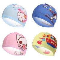18 stijl cartoon jongen meisje strand zwemmen cap doek stof kinderen water sport hoed hot baby bad caps groothandel