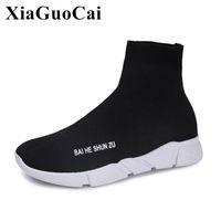 fa3430b18b04 Summer Women Shoes New Fashion Slip-on High-cut Elastic Fabric Socks Shoes  Weave Breathable Platform Flats Shoes H339 35