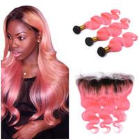 Paquetes del pelo humano de Ombre Pink con el cordón Frontal 1b Extensión rosada de la armadura del pelo con el cierre frontal del cordón Virgin Malaysian Hair