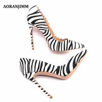 Livraison gratuite femmes dame femme 2019 cuir de cheveux de cheval de zèbre Poined Toes talons de mariage talons aiguilles à talons hauts chaussures pompes 12cm 10cm 120mm