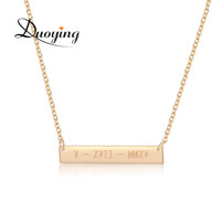DUOYING 35*6mm Gold Color Bar Custom Engraved Name Necklace ...
