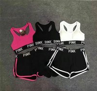Love Pink Letter Tracksuit Lady Summer Sport Wear Running Fi...