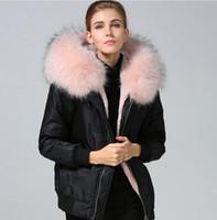 Jaquetas de nylon Meifeng marca rosa claro forro de pele de coelho preto jaquetas bomber Resistente ao frio com luz rosa pele de guaxinim guarnição