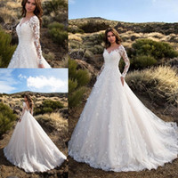Vintage с длинными рукавами Свадебные платья Кружева Appliqued Backless Bridal Gowns Sheer Jewel Neck Garden Country Wedding Dress