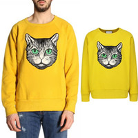 Cat Head аппликация Свитер Мужчина Европа Популярного Дизайн хлопок + шерсть вокруг шеи Knit Wear Причинной свитер мужской