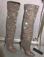 Весенние женщины Bling горный хрусталь просверленные сапоги скольжения на остроконечные носки вереток пешеходных животных штрихов на высоком каблуке блеск кристалл на коленном рыцарем ботас