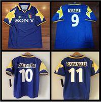 95 96 Italy Team Away Blue Retro Soccer Jersey  10 Del Piero   11 Ravanelli   9 Vialli  15 Vieri Italia Vintage Classic Football Shirts 8465d8b57