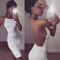 2018 Hot Diamond Sexy Halter Backless Dress Summer White Black Nightclub Bodycon Hip Vaina Vestidos Harajuku Vestidos Homecoming Party Dress