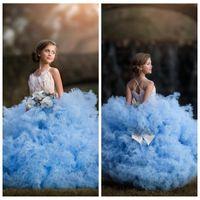 2021 il nuovo disegno Puffy sfera di Tulle ragazze di spettacolo Piuma Abiti Ornata rilievo morbido fiocco a file delle ragazze di fiore Abiti bambini partito abiti