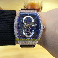 Colección de hombres de alta calidad Vanguard Vanguard V 45 S6 SQT NR BR (NR) Dial de esqueleto azul Dial Automático Mens Reloj helado Out Diamonds Case Relojes deportivos