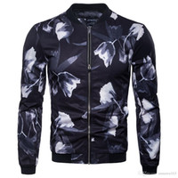 Giacca da uomo all'ingrosso Autunno Designer Floral Stampato stampato con cerniera Moda Slim Giacche Cappotto Sport Outdoor Sport Abbigliamento da uomo di alta qualità