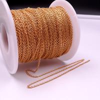 Gnayy 10meter mycket i bulkpläterad guld slät oval o Rolo kedja rostfritt stål DIY Jewlery marking kedja 1,5 mm / 2mm
