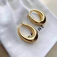 Brass material round earring stud hoop in gold color brand n...