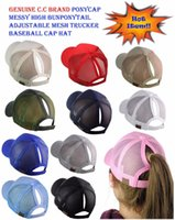 C. C Horsetail Baseball Hat Ponytail Messy Buns Trucker Ponyc...