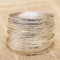 Wholesale- 5 piece lot Gold Silver Simple Women Cuff Bracele...