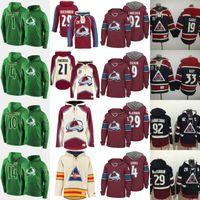 Colorado Avalanche Centennial Klassischer Patch Hoodie 19 Joe Sakic 29 Nathan Mackinnon 33 Patrick Roy 92 Gabriel Landeskog Benutzerdefinierte Hockey Jersey