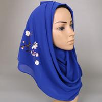Sciarpa donna floreale lavanda stampato chiffon estate sciarpe scialli hijab moda musulmana lungo avvolgere la fascia sciarpa 180 * 73 cm S18101904