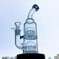 Double 12-Arm Árvore Perc de vidro Bong 8,2 Inch Mini Bong pequena bagatela Rig da tubulação de água 5 mm de espessura Bong tubulações de óleo de vidro YQ01
