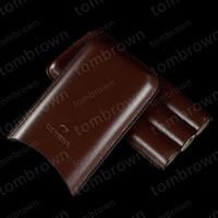 새로운 품질 프리미엄 품질 도매 가격 3 튜브 COHIBA 브라운 가죽 홀더 여행 가습기 가습기 선물 상자