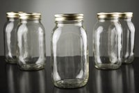 Pack of 6 Glass Mason Jars With Metal Lids, Clear, 10oz 16oz ...