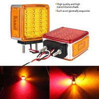 39LED Square Dual Face Stud Fender Turn Signal Light para camión Trailer Strobe Lights Advertencia Lámpara intermitente