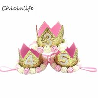 Chicinlife Baby Girl Boy One 1 2 3 4 5 6 7 8 9 Years Old Birthday Hat Crown Headbands Party Decoration Hair Decorative