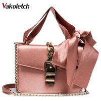 Women Bowknot Chains Flap Bag Ladies Fashion Solid Color Has...