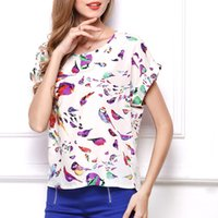 European and American large size top bird print T- shirt shor...