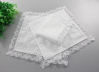 Blanc dentelle mince mouchoir femme cadeaux de mariage décoration de fête serviettes en tissu plaine blanc bricolage mouchoir 25 * 25 cm
