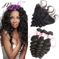 Human Hair Weft With Frontal Loose Wave 9A Peruvian Unproces...